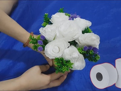 How To Make Beautiful White Roses From Toilet Paper - DIY