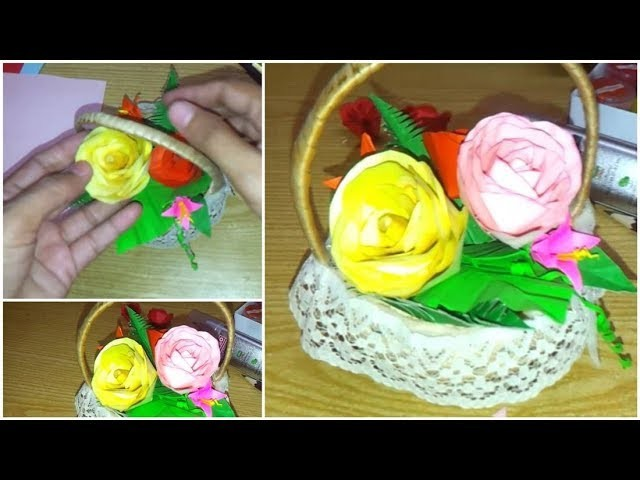 How to make paper flowers at home.Easy Paper Rose Making