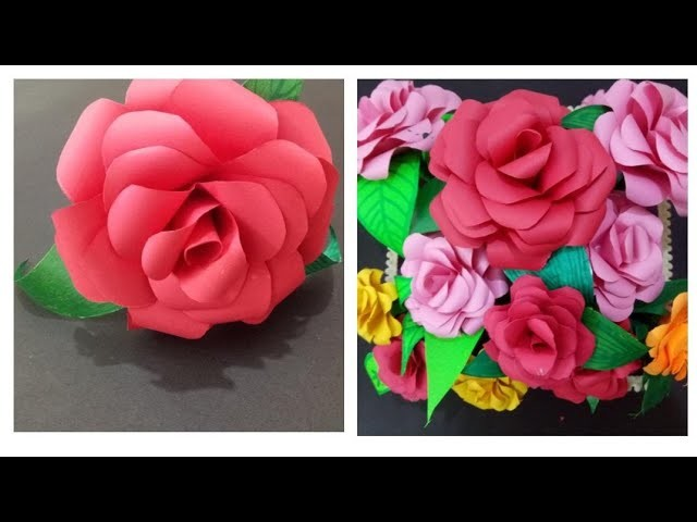 How to make realistic Rose flower from paper,  flower basket DIY