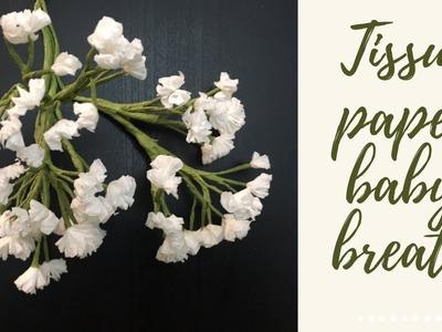 How to make tissue paper baby breath flower (DIY paper flower)