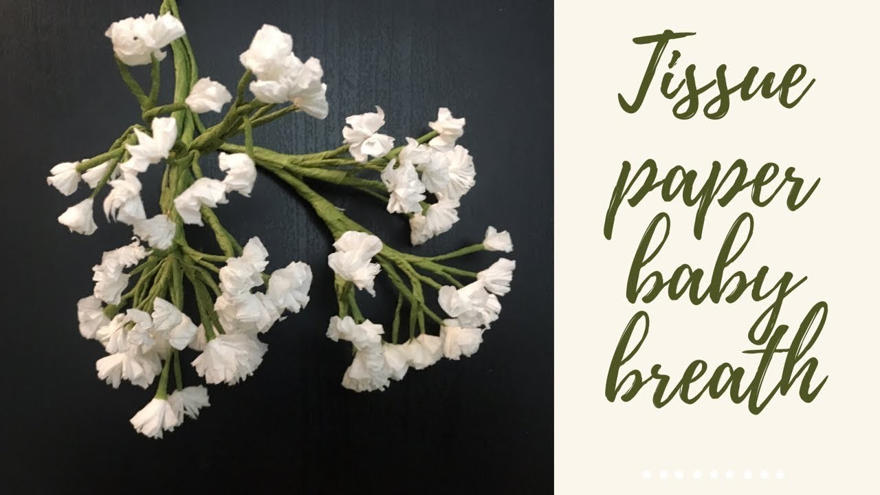 How to make tissue paper baby breath flower (DIY paper flower)