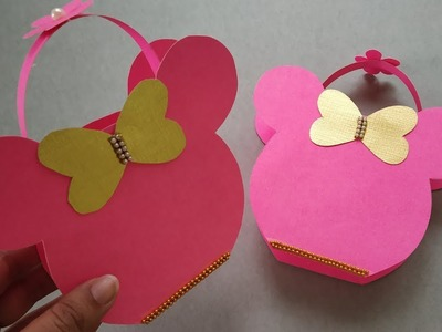 Minnie Mouse Inspired Paper Basket   Easy Paper Basket for Chocolates   Christmas Gift Bag   DIY