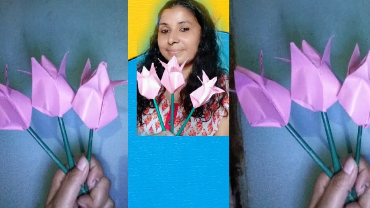 Paper craft easy idea how to make Tulip