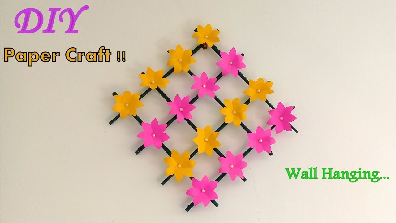 Paper Flower Wall Hanging. DIY Wall decoration ideas.  Easy Room decor.
