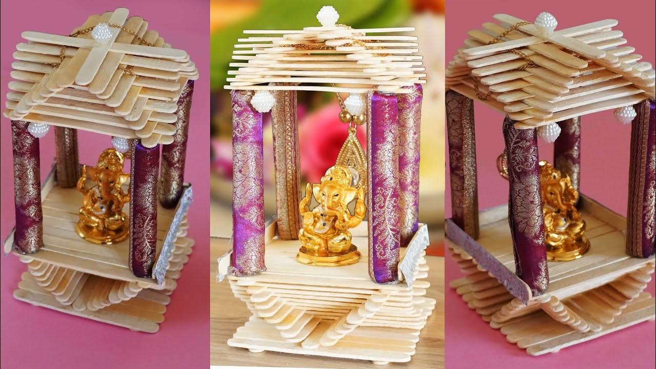 Popstick Craft  Mini Vinayaga Temple at Home How to Make Ice cream Stick Craft for Kids Paper Boat