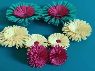 Quilled Fringed Flowers Tutorial. How to Make Quilled Fringed Flowers Using Paper Art Quilling