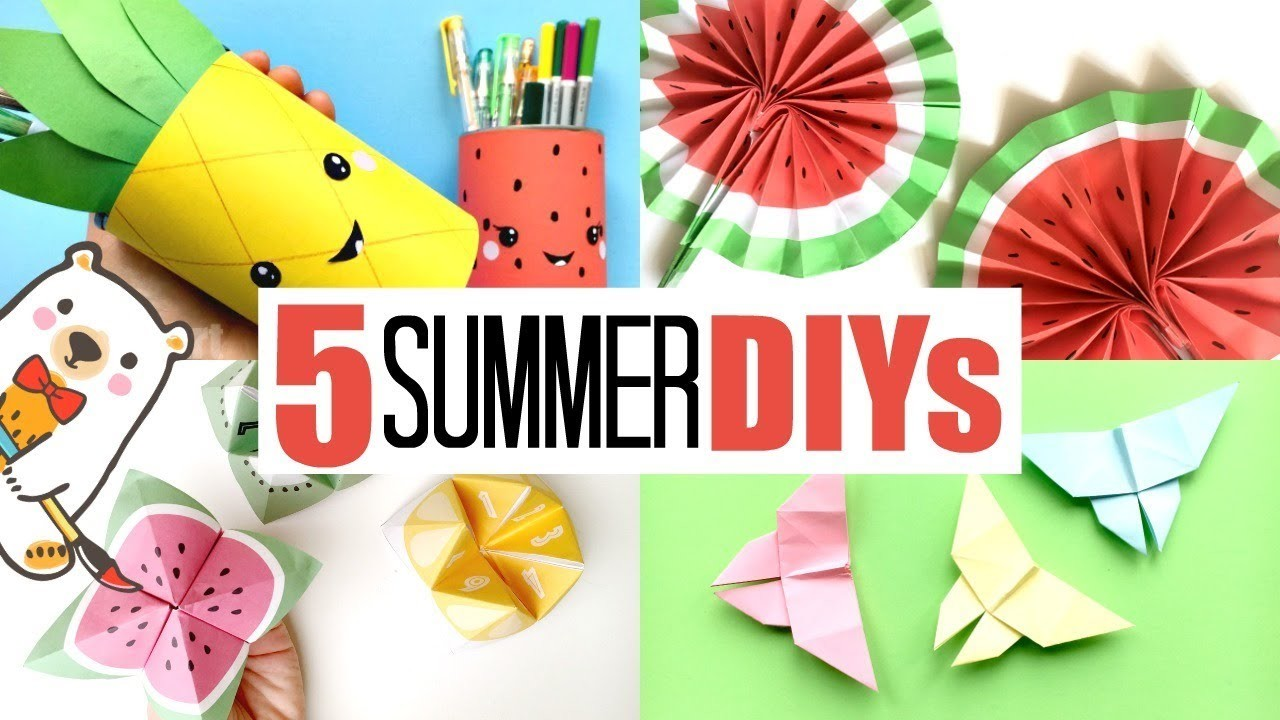 5 GREAT Paper Crafts for Summer - Decorate my room for Summer
