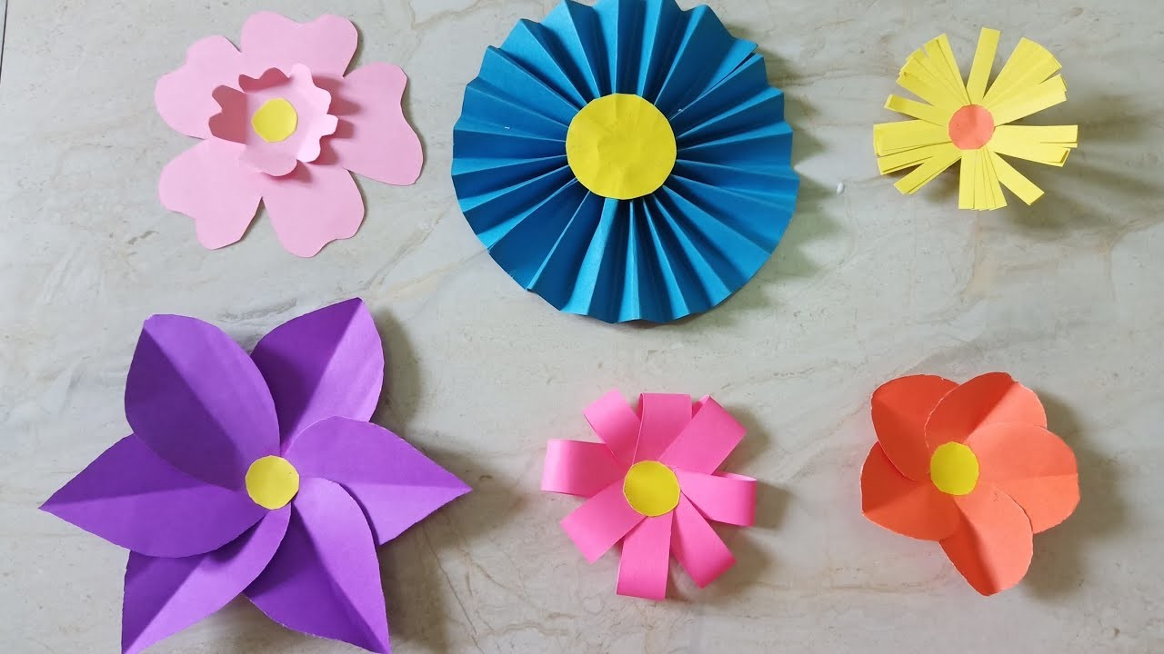 6 Diy Easy Paper Flowers For Decoration | CraftLas