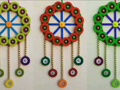 AWESOME WALL HANGING TORAN FROM WASTE HAIRBAND AND WOOLEN \\ EASY DIY FROM WOOLEN AND HAIRBAND
