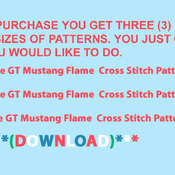 Blue GT Mustang Flame Cross Stitch Pattern***LOOK***