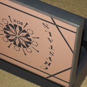 FREE POST - CRYSTAL STORAGE Wooden box with 6 inner wooden dividers compartments. PINK and Grey. Unique design. Gem Stone storage.