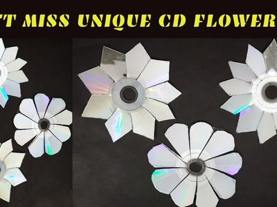 DIY:CD Wall Decals|OLD CD FLOWERS|HOW TO USE OLD CD|MIRROR FLOWERS FROM CD|CD CRAFT IDEA-Don't Miss