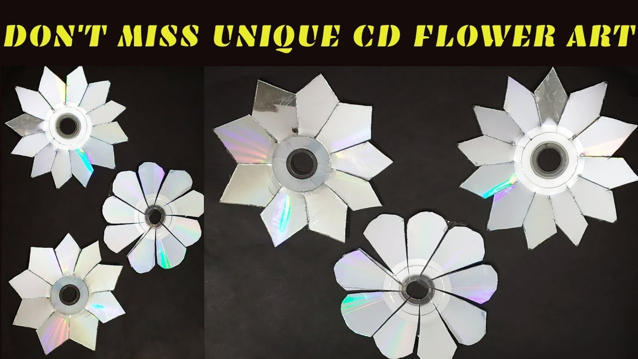 DIY:CD Wall Decals OLD CD FLOWERS HOW TO USE OLD CD MIRROR FLOWERS FROM CD CD CRAFT IDEA-Don't Miss