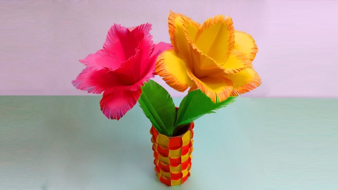 DIY: Making Paper Flowers Decoration Ideas - Very Easy Paper Flowers Decoration at Home
