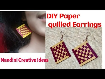 DIY Paper quilled Earrings.How To Make Paper Quilling Earrings Step By Step