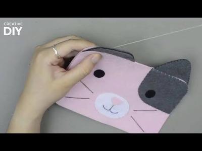 DIY Pencil Case Cute Cat From Felt | DIY Back to School Supplies