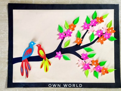DIY Room Decor Ideas|Paper flower Wall Hanging - Easy Wall Decoration Ideas - Paper craft
