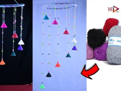 DIY Wool Wind Chime   Woolen Jhumar   Wool Chandelier   Easy DIY Beaded Door Bell