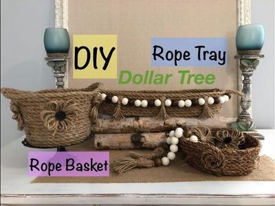 Dollar Tree Rope Tray and Rope Basket - DIY - Farmhouse