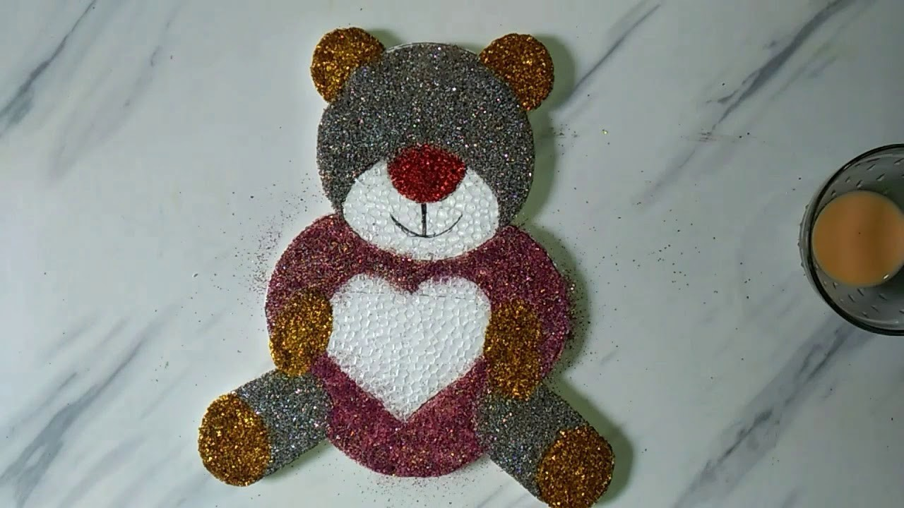 How to carve teddy bear on thermocol. Diy teddy bear from waste thermocol. Easy wall hanging idea