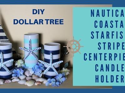 NAUTICAL | COASTAL | STRIPE BEACH STARFISH CANDLE HOLDER | WEDDING DIY DOLLAR TREE CENTERPIECE