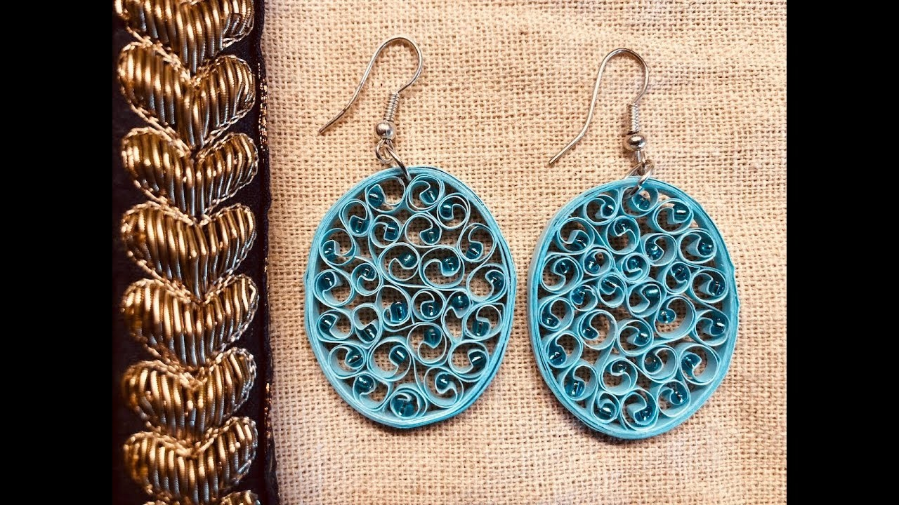 Paper quilling earrings | Blue beehive quilling earrings | DIY | New design