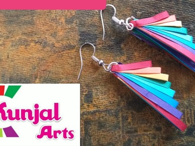 Simple EASY TO MAKE DIY PAPER QUILLING EARRINGS. QUILLING jewellery. RAINBOW EARRINGS. PAPER ART