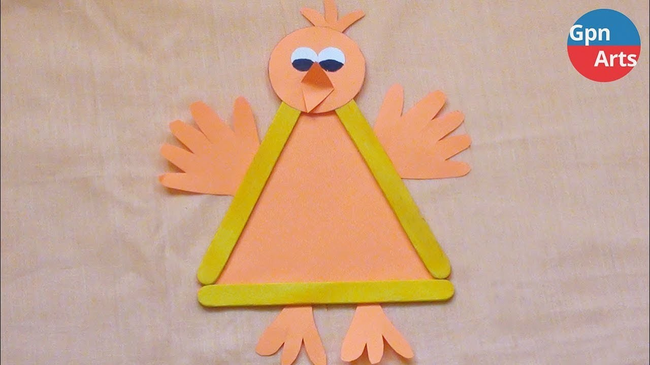 Simple Paper Crafts for Kids | DIY Easy Popsicle Stick Bird