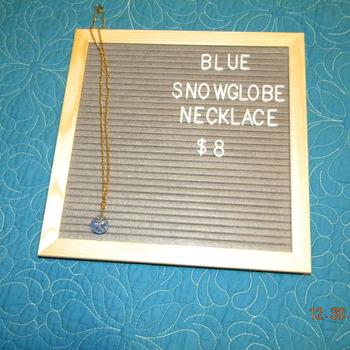Snowglobe Necklace- Blue