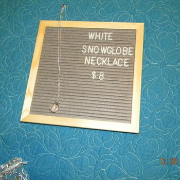 Snowglobe Necklace - White