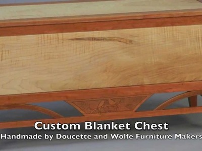 Blanket Chest Handmade by Doucette and Wolfe Furniture Makers of solid Cherry and Tiger Maple