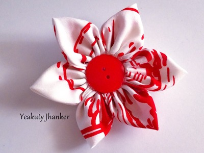 DIY: How to make a Kanzashi fabric flower hair clip.