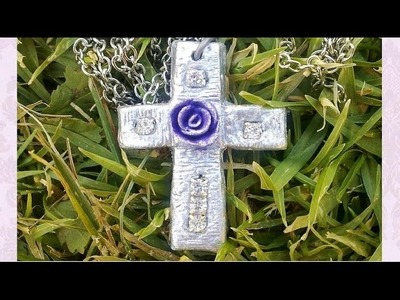 DIY pendant: Silver cross with rose, polymer.air-dry clay tutorial