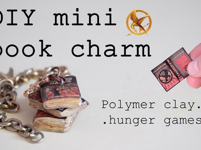 DIY polymer clay vintage book charm tutorial- Hunger games trilogy