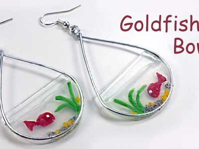 Goldfish bowl polymer clay water effect - Earrings