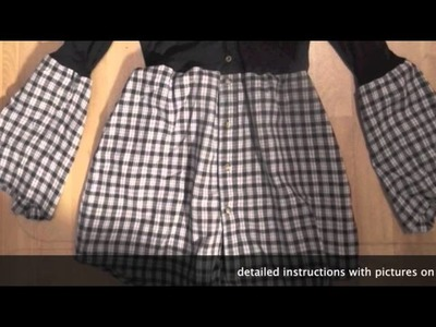 How to upcycle.  an old cardigan and shirt to a dress