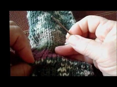Improved version-kitchener stitching sock toes with the use of waste yarn.wmv