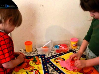 John and Joseph Playing with Playdough Games