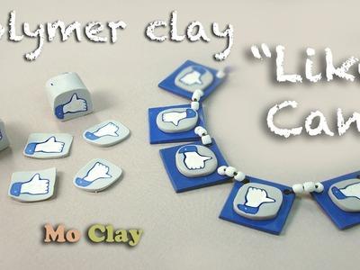 "Polymer clay cane tutorial . Like Facebook icon jewelry - Murrina ""Mi piace"""