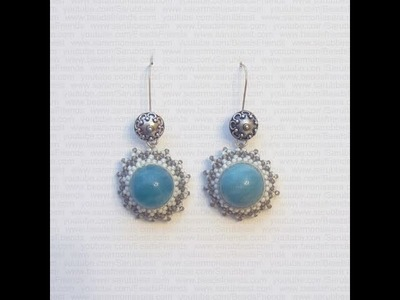 Tutorial Orecchini perline: Brick Stitch - perla Amazzonite circondata di perline | Tutorial Perline