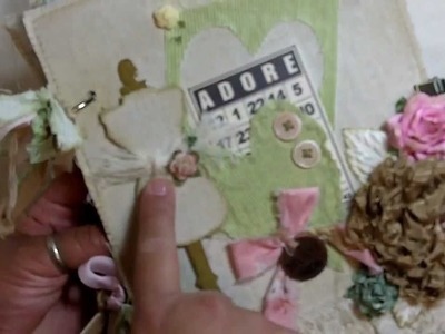 """Adore"" Shabby Chic 7x8 fabric mini album! (Vid # 294)"