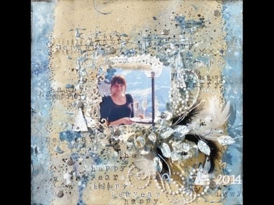 Mixed media layout with string gel. Start to finish tutorial - how to