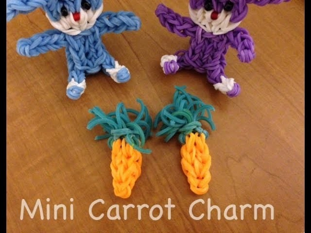 Rainbow Loom Mini Carrot Charm for the Easter Bunny Tutorial