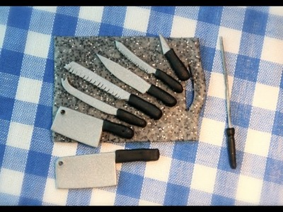 Simple Kitchen knife set (polymer clay) for beginners.