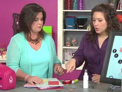 409-1 Kazan Clark creates a magnet board with bottle caps on Scrapbook Soup