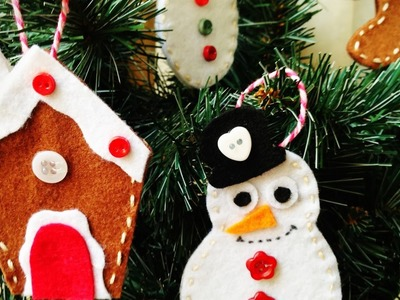 D.I.Y. hand made christmas felt decorations ❄ Decorazioni natalizie in feltro fai da te