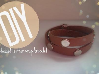 DIY| How to make a studded leather wrap bracelet | CuteNailPolishArt