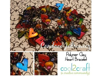 How to Assemble a Foiled Polymer Clay Heart Bracelet by Candace Jedrowicz