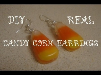 LOOK!  REAL Candy Corn Earrings  (HALLOWEEN CRAFTS)