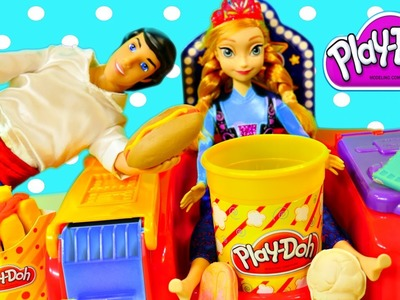 Play Doh Poppin Movie Snacks Playdough Popcorn Ice Cream and Frozen Barbie Anna